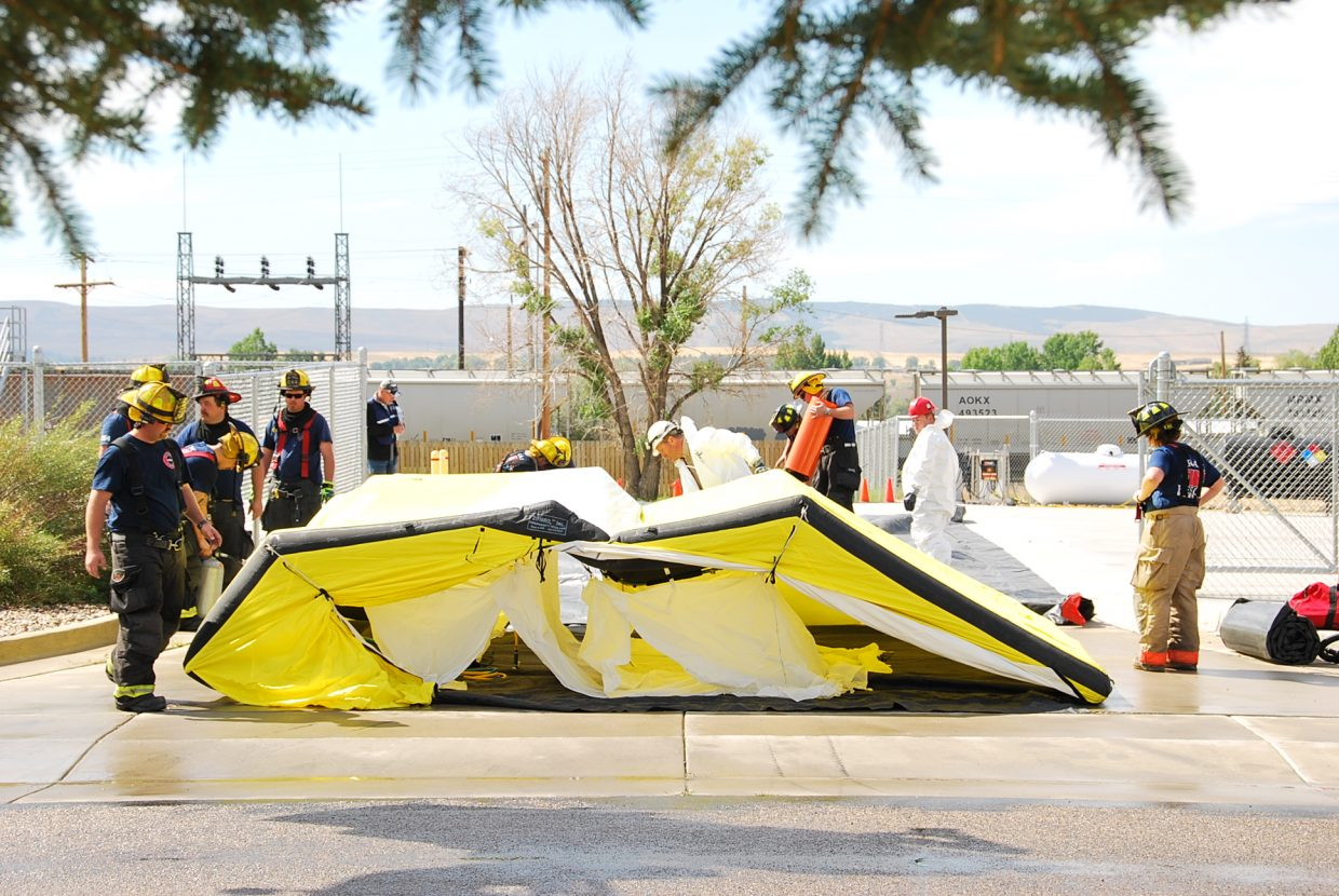 A Haz-Mat quarantine tent is set up for the second part of the training.