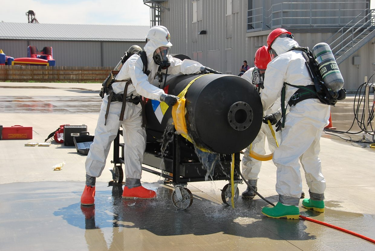 The Moffat County Haz-Mat team works together to contain a simulated chemical leak.