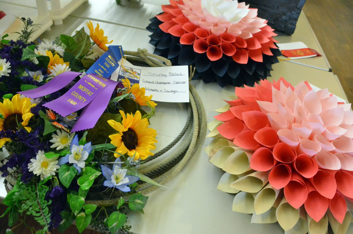 Decorative wreaths are on display in the pavilion of Moffat County Fairgrounds.