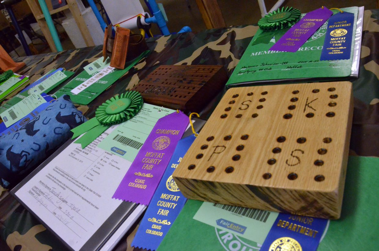 Award-winning 4-H projects are on display under the grandstands of the Moffat County Fair.