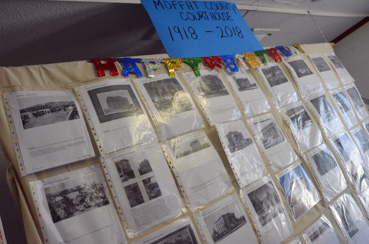 A collage of photos from the Moffat County Courthouse throughout the years is on display beneath the grandstands at the Moffat County Fair. The collection was put together by Annette Norton and Ken Bergstrom, with photos from Museum of Northwest Colorado.