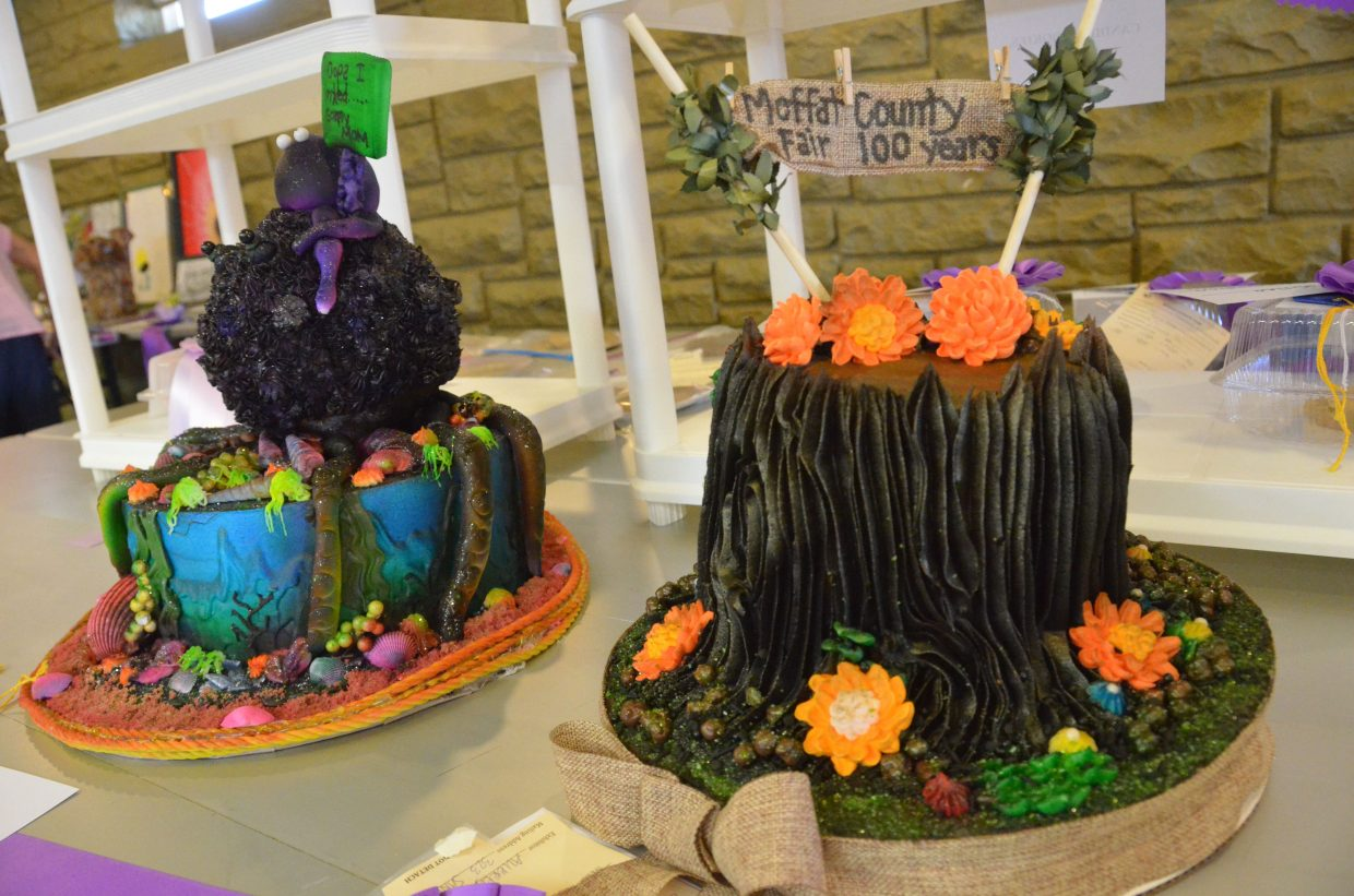 Edible and non-edible entries by Aubrey are on display in the pavilion of Moffat County Fairgrounds.