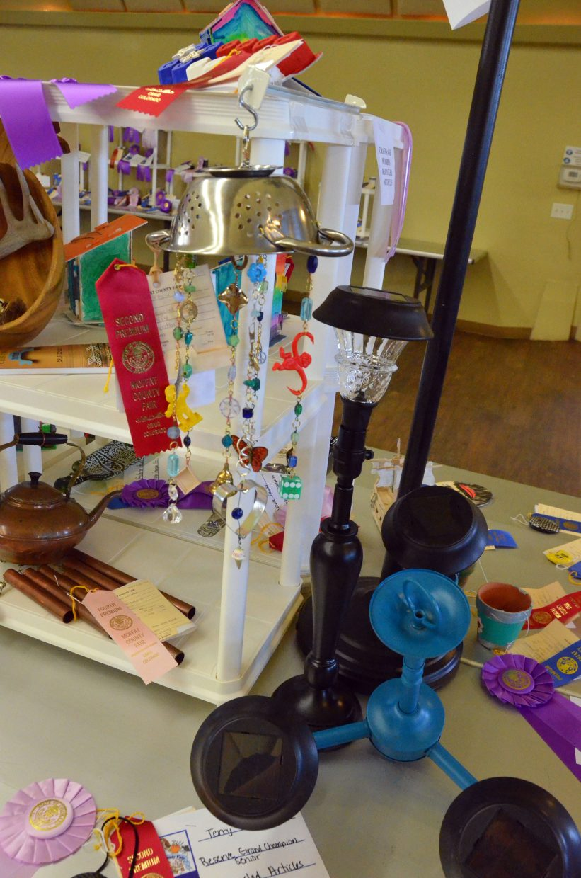 Award-winning recycled articles are on display in the pavilion of Moffat County Fairgrounds.