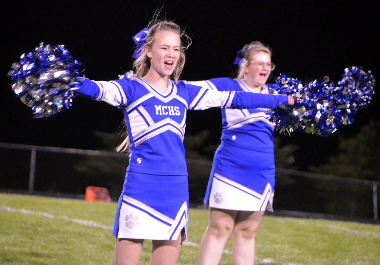 Moffat County High School cheerleaders keep the crowd peppy at halftime of Friday's football game.
