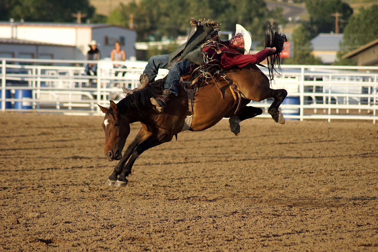 The fourth annual Ridin' & Riggin' Days at the 2018 Moffat County Fair got off to a rocking start Thursday with the bronc riding event. See more photos from the fair online at CraigDailyPress.com.
