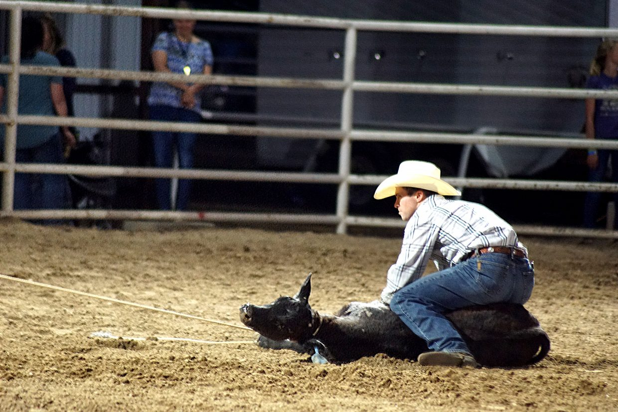 A cowboy watches his horse in the tie-down competition, in which the horses must work independently to assist the cowboy.