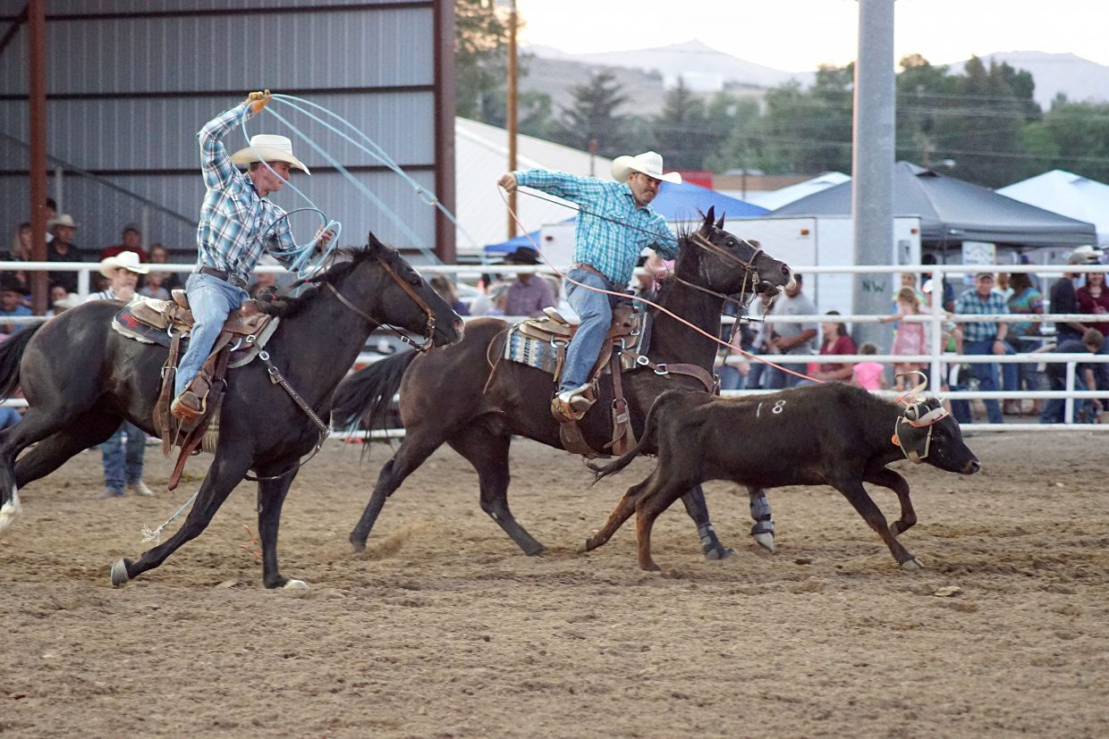 Team roping at the rodeo.
