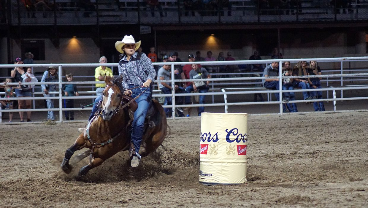 Eight women of the Women's Professional Rodeo Association showed their skill in the barrel racing competition.