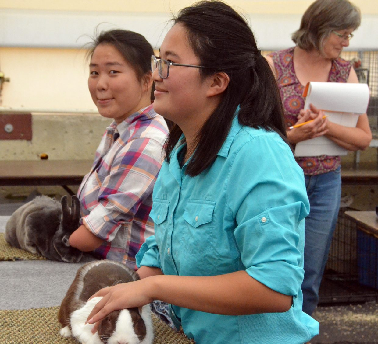 Sisters Autumn and Lauren Hilley keep their bunnies still during judging for the rabbit show Friday at the Moffat County Fair.