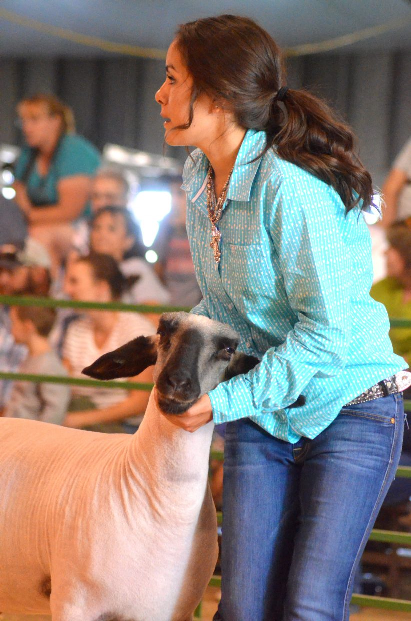 Makayla Martinez takes a corner while presenting during the market class division of the Wednesday sheep show at the Moffat County Fair.