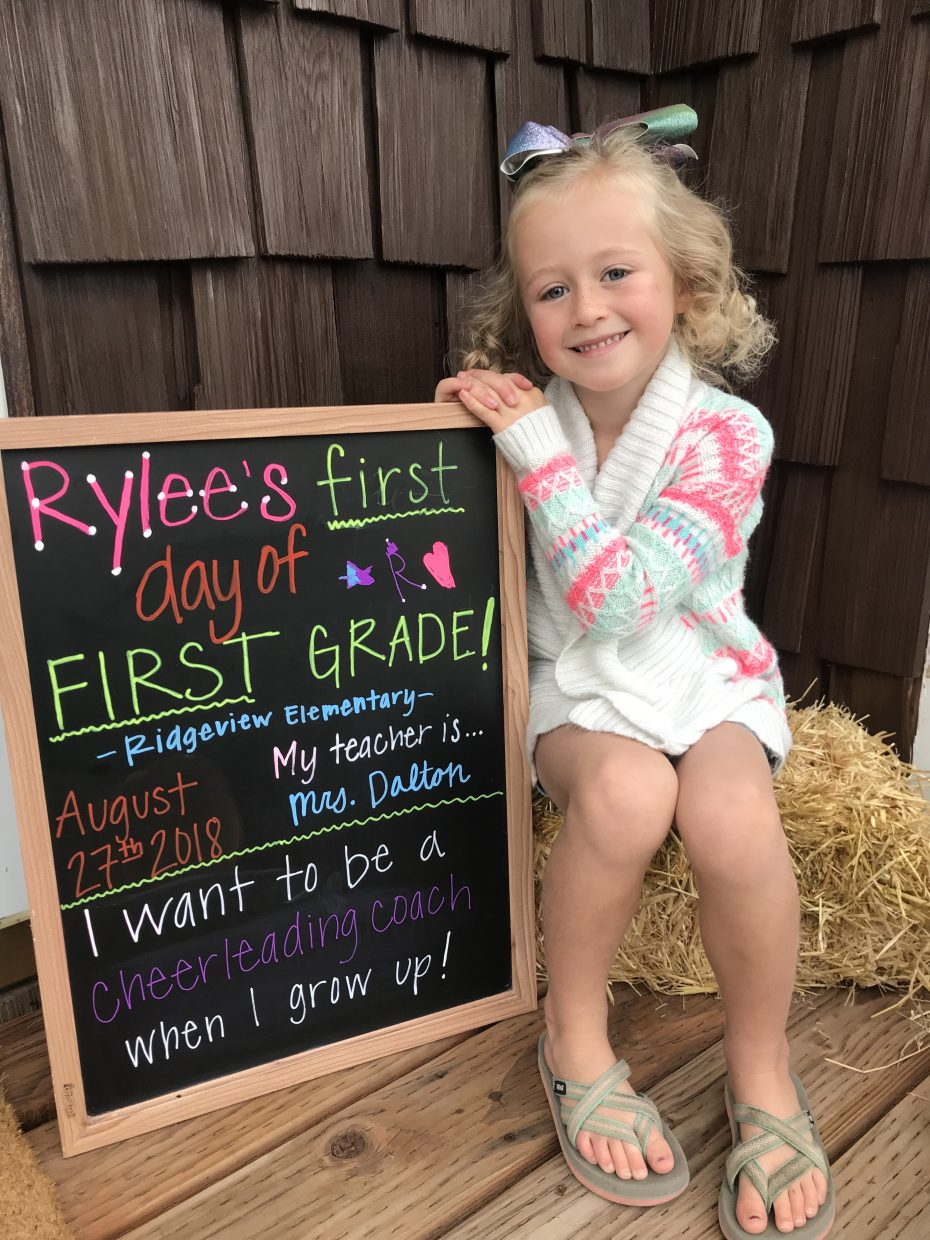 Rylee Chichester on her first day of first-grade.