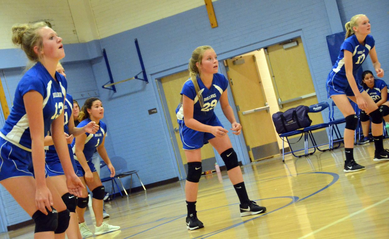 Craig Middle School eighth-graders prep for a serve from Baggs.