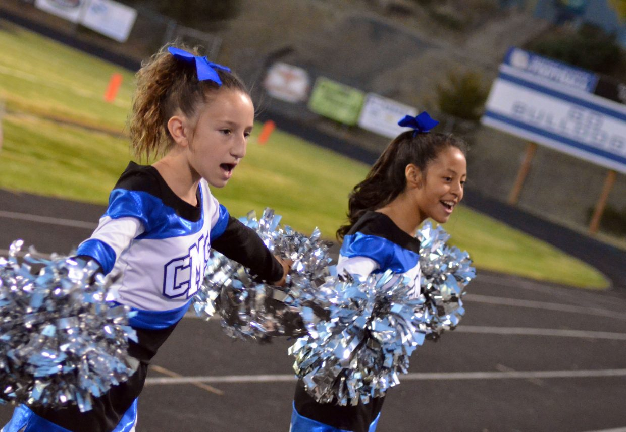 Craig Middle's School cheerleaders keep the crowd pepped up.