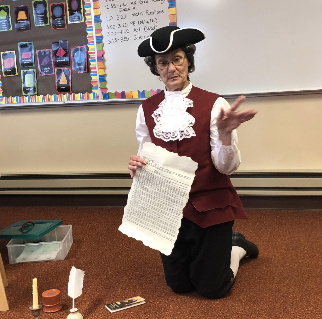 DAR constitution committee chairperson Debbie McClain brought history to life for students providing over 20 programs to all of Moffat County's public and private elementary schools during 2018 Constitution Week.