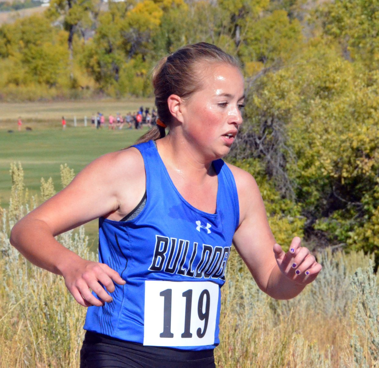 Moffat County High School's Makenna Knez heads back off Loudy-Simpson's hill during Saturday's MCHS Invitational.