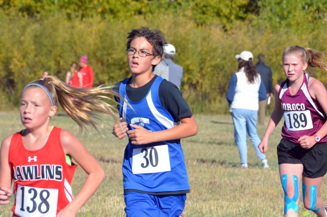 Craig Middle School's Forrest Siminoe nears the last bit of the race during Saturday's MCHS Invitational.