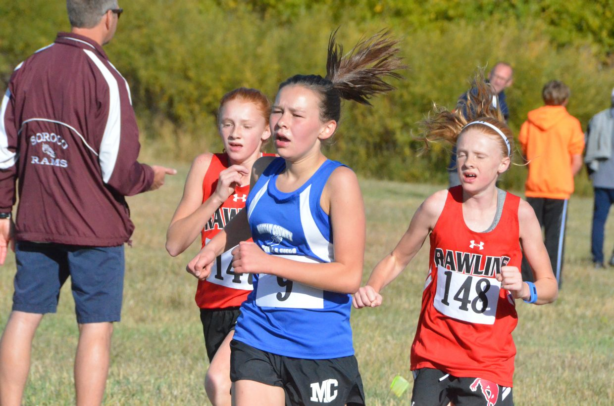 Craig Middle School's Megan Neton stays ahead of Rawlins, Wyoming, competition during Saturday's MCHS Invitational.