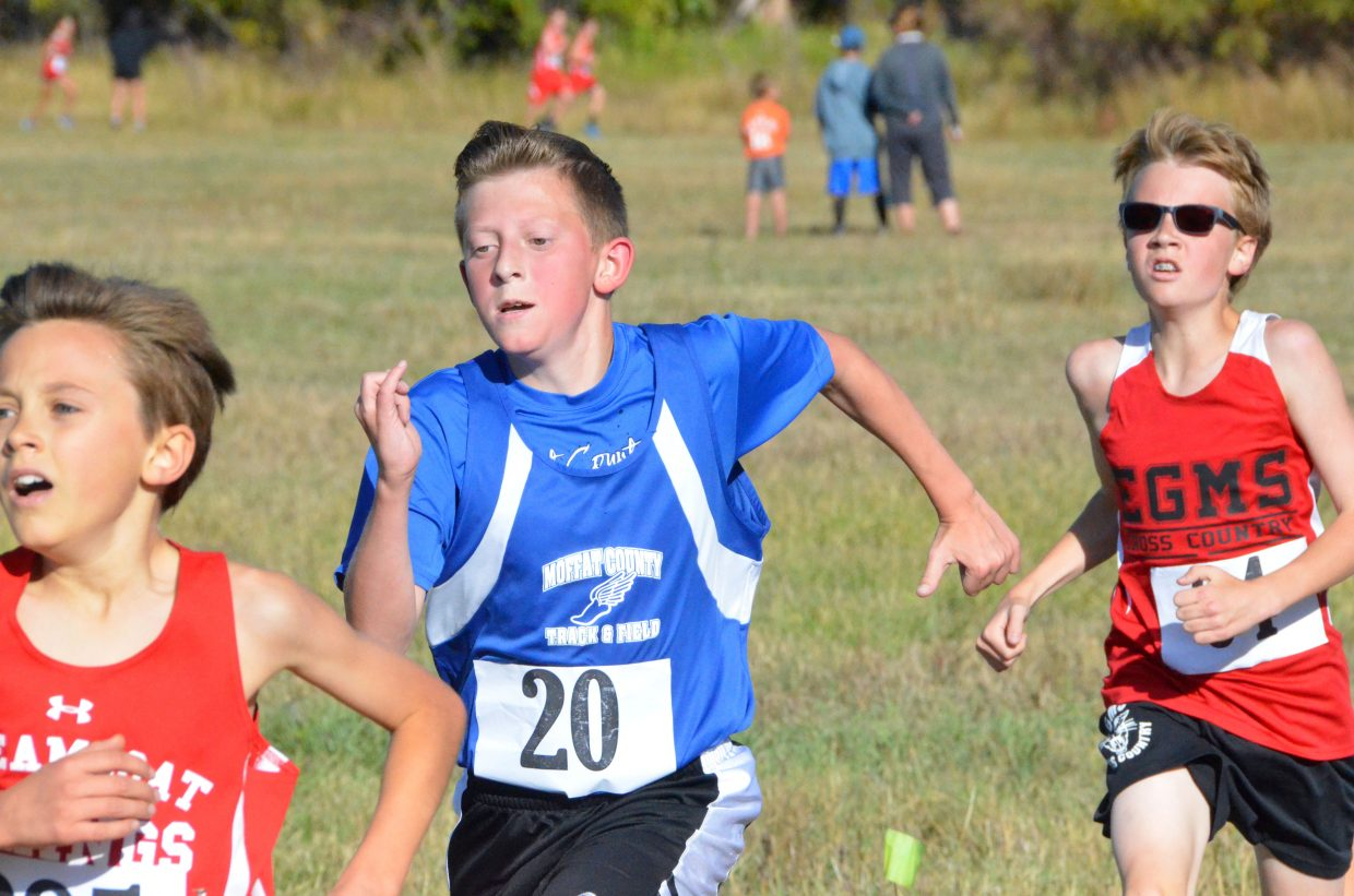 Craig Middle School's Carson Laehr seeks to pass as many runners as possible during Saturday's MCHS Invitational.