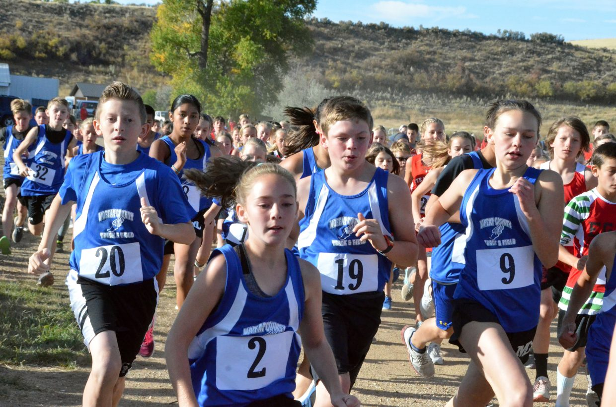 Craig Middle School cross country runners get into the mix during Saturday's MCHS Invitational.