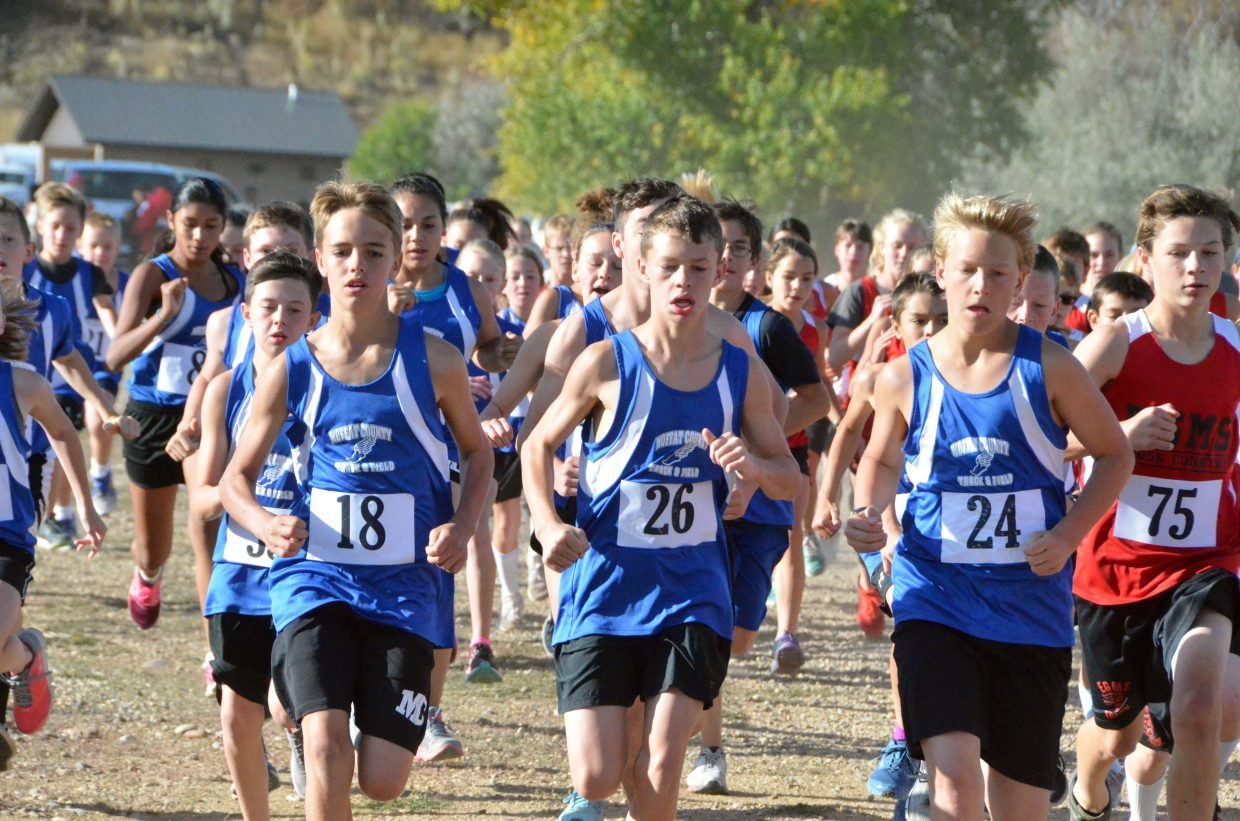 Craig Middle School boys work to stay in front during Saturday's MCHS Invitational.
