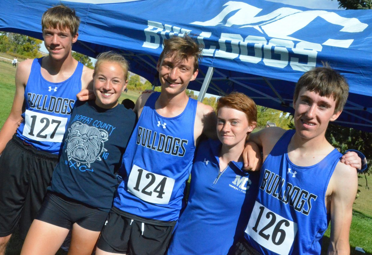 From left, Moffat County High School cross country's seniors gather following Sept. 29's MCHS Invitational. From left, Theo Corrello, Makenna Knez, Aj Barber, Lydia Berkoff and Chris Carrouth. Corrello, Knez and Carrouth are from Hayden and run for the Bulldogs.
