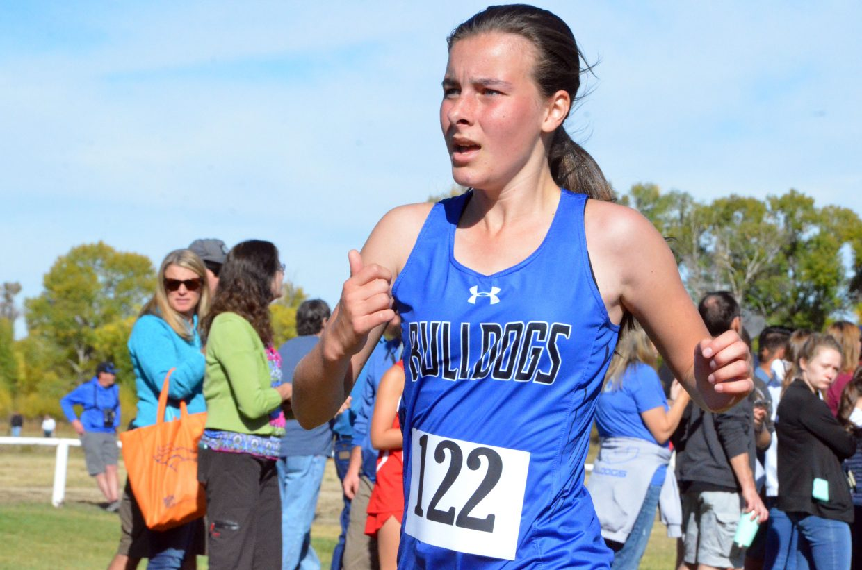 Moffat County High School's Mackenzi Telford comes up on the finish line during Saturday's MCHS Invitational.