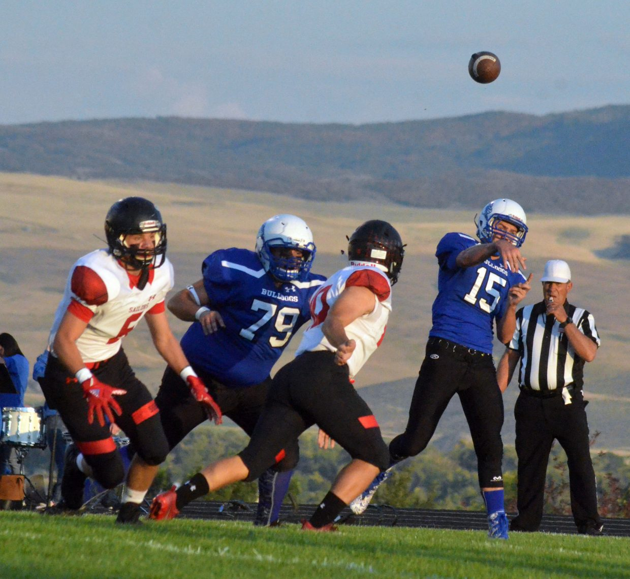 Moffat County High School's Colby Beaver lets loose a long pass against Steamboat Springs.