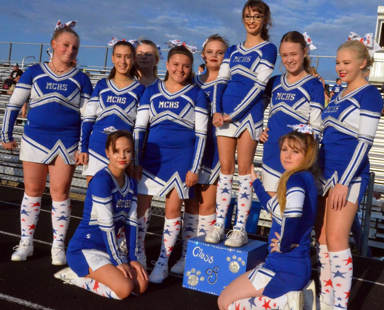 The Moffat County High School cheer team displays their patriotic footwear before Friday's football game.
