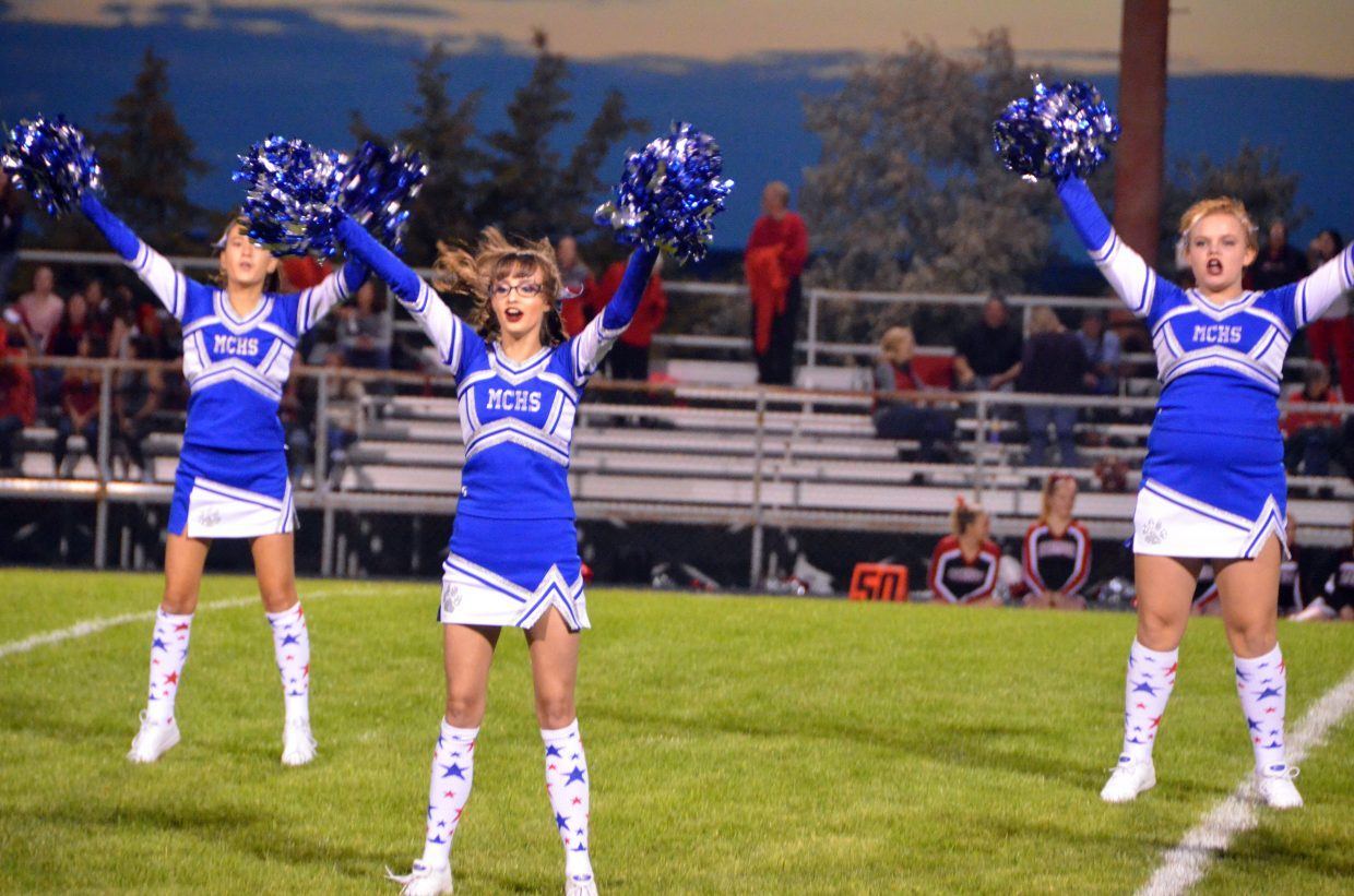 Moffat County High School cheerleaders perform at halftime of the Friday football game against Steamboat Springs.