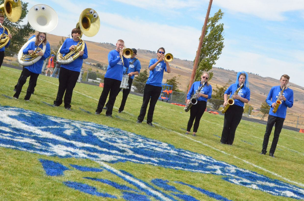 The Moffat County High School band performs at halftime during Saturday's Homecoming game with Basalt.