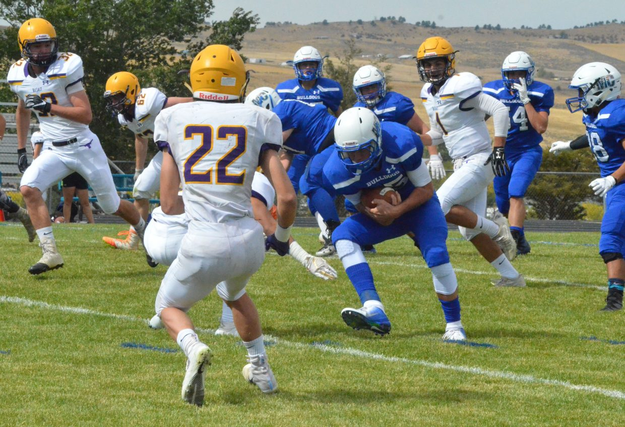Moffat County High School's Colby Beaver gets low to the ground during Saturday's Homecoming game with Basalt.