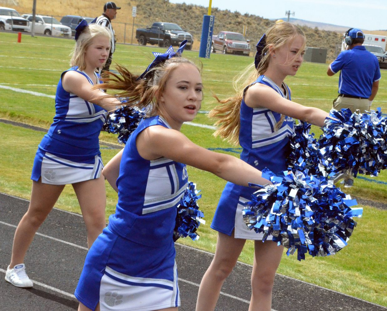 Moffat County High School cheerleaders get their routine going to start Saturday's Homecoming game.