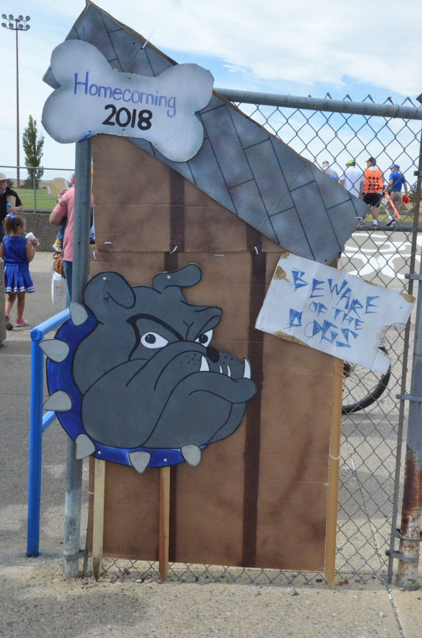 The doghouse décor greets spectators at the gates of the Bulldog Proving Grounds for Moffat County High School's Homecoming game Saturday.