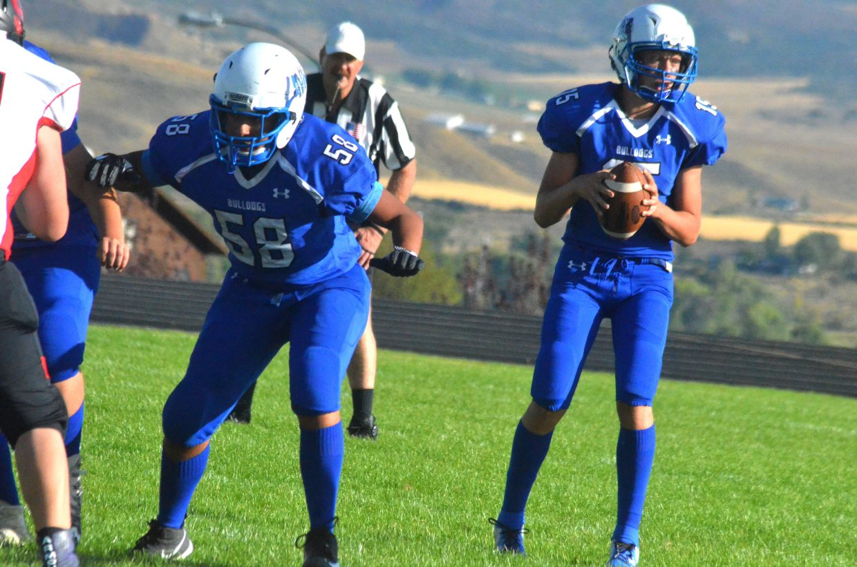 Moffat County High School's Daniel Cruz stays on his guard as Ryan Peck searches for a receiver.