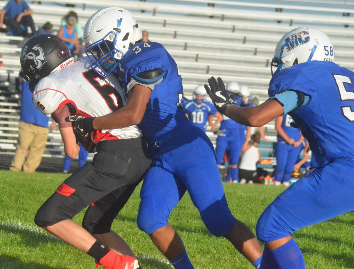 Moffat County High School's Norman Cruz gets the sack against Steamboat Springs.