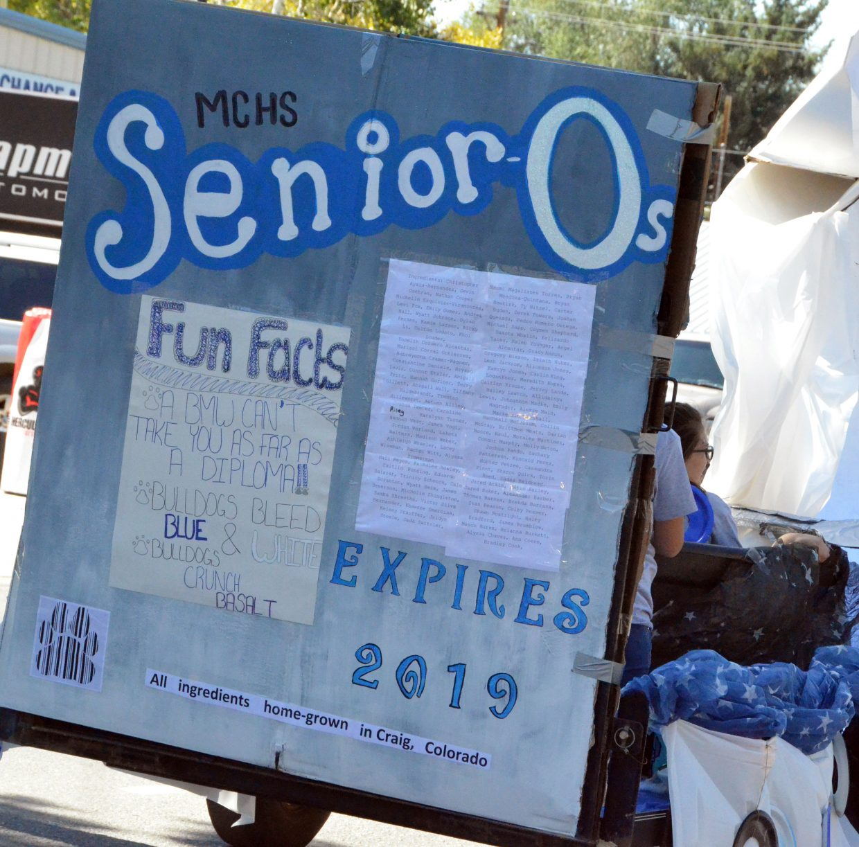 The rear of Moffat County High School's senior class float displays nutritional facts during the Homecoming parade Friday.