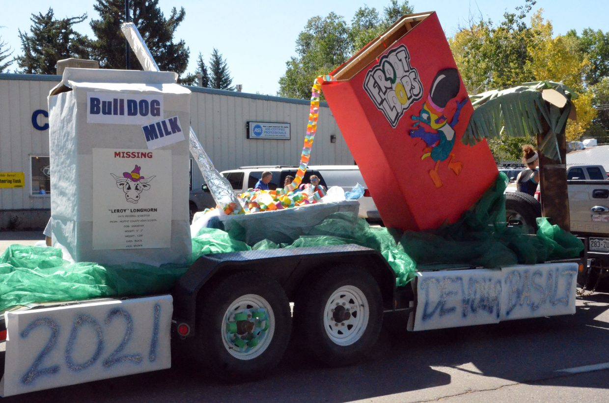 The Moffat County High School sophomore class has a heaping helping of Froot Loops ready during the Homecoming parade Friday.