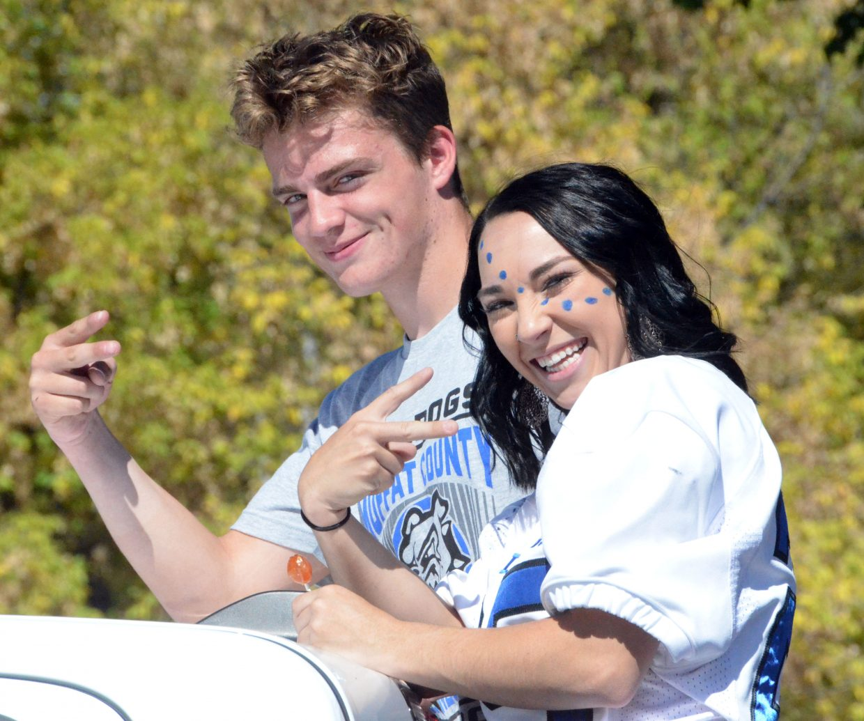 Moffat County High School's Jared Atkin and Quinn Pinnt are the 2018 king and queen during the Homecoming parade Friday.