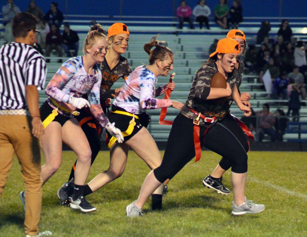 MaKala Herndon, of Locked & Loaded, keeps moving late in the game during Moffat County High School's Monday Powder Puff Football.