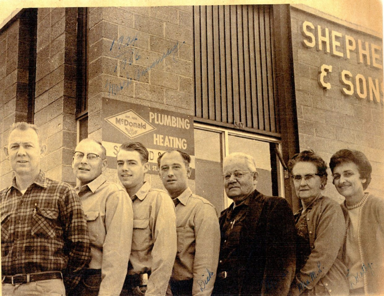 A photocopy of a photograph taken March 1966 on the 42nd anniversary of M.L. Shepherd & Sons Plumbing, Heating and Sheet Metal Business. Pictured, from left, are James L. Shepherd and Albert M. Shepherd (sons of Mark L. Shepherd), employee George Bauer and employee Dick Harris; original owner Mark L. Shepherd, his wife Elda M. Shepherd, and bookkeeper Dorothy Cobb.