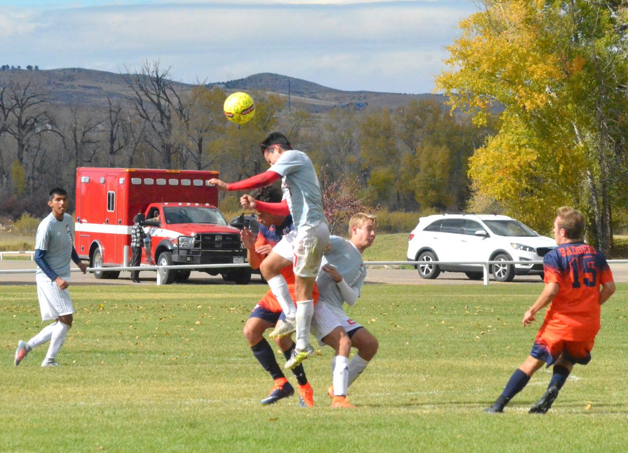Colorado Northwestern Community College's Roberto Martinez takes a header during Spartan soccer's game with Snow College.
