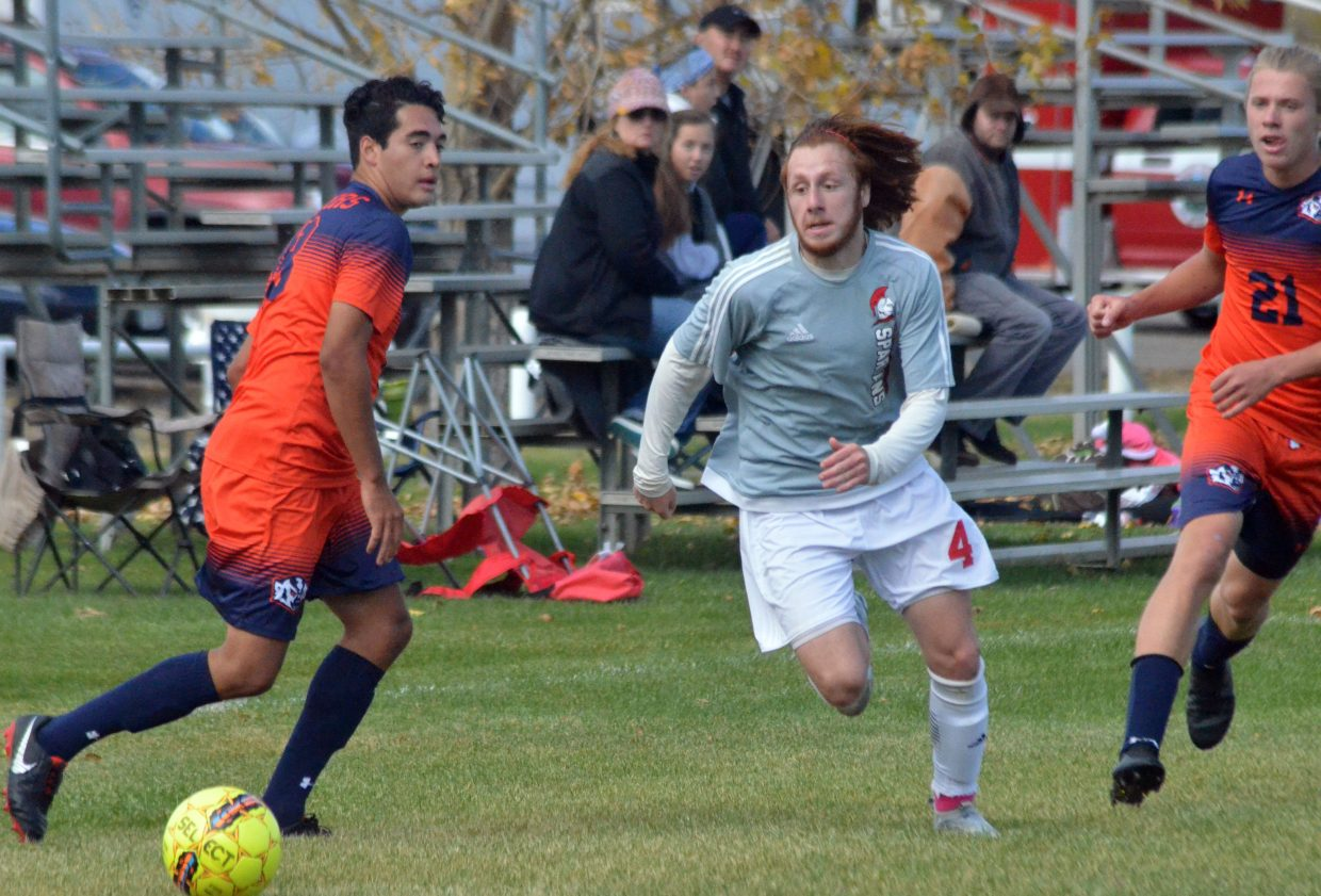 Colorado Northwestern Community College's Ryan Palma gets after  the ball along during Spartan soccer's game with Snow College.