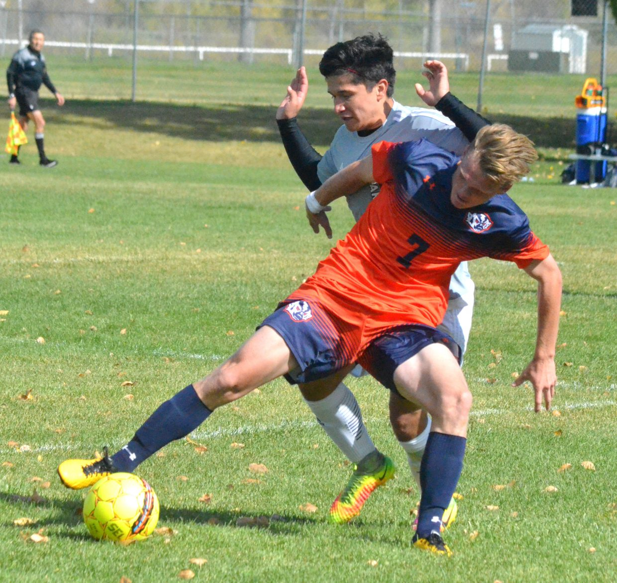 Colorado Northwestern Community College's Ulises Silva works to get to the ball and avoid a foul during Spartan soccer's game with Snow College.
