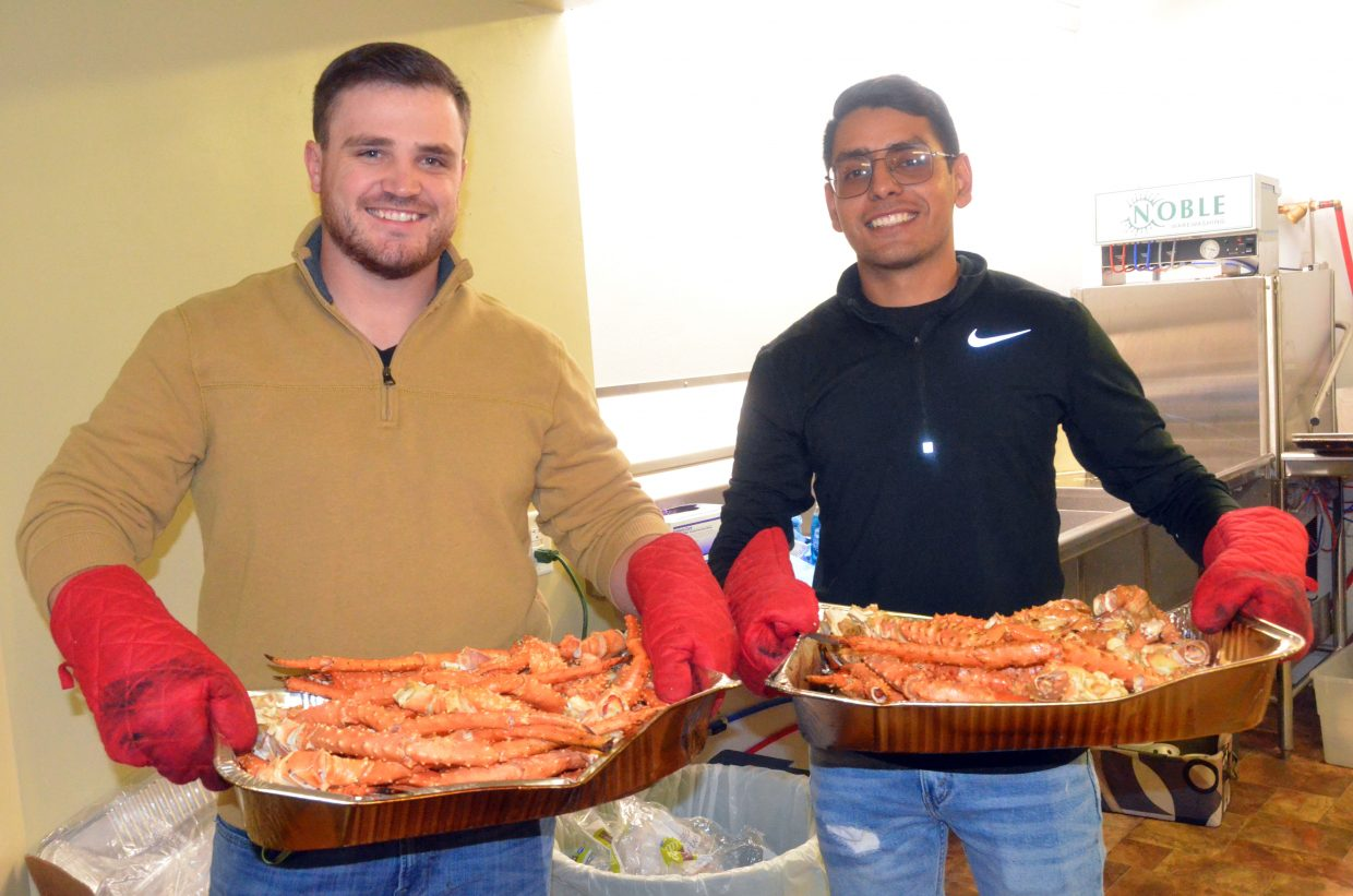 The first wave of crab legs is on its way through the Moffat County Fairgrounds Pavilion kitchen Saturday during Craig Chamber of Commerce Crabfest.