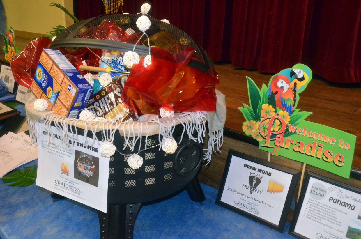 A portable fire pit stuffed with s'more fixings is among the items up for bids in the silent auction at Craig Chamber of Commerce Crabfest.