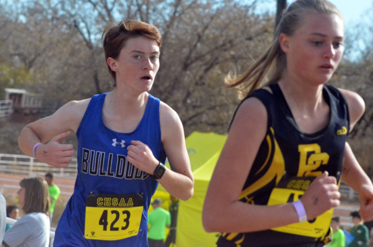 Moffat County High School's Lydia Berkoff keeps her stride at the CHSAA State Championships in Colorado Springs.
