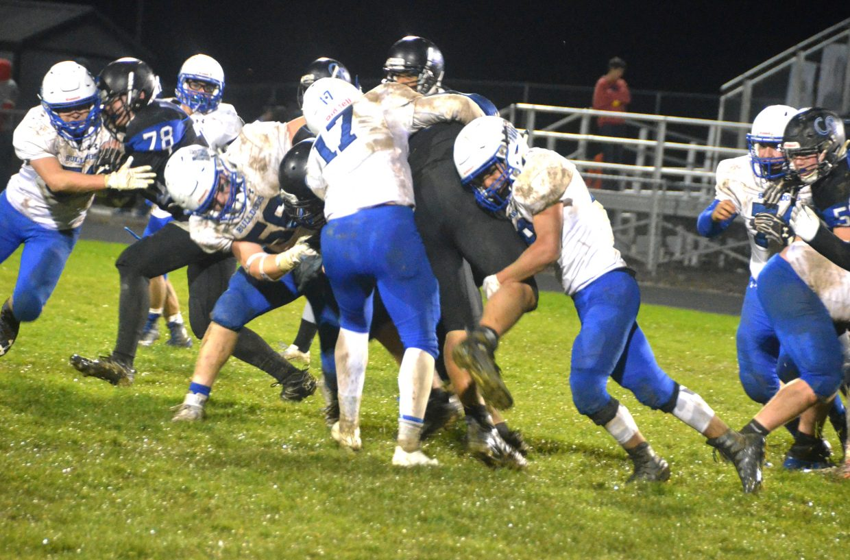 The Moffat County High School defense stacks up against Coal Ridge.