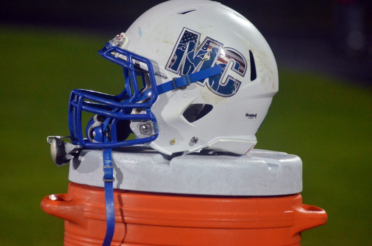 A Moffat County High School helmet sits atop the water cooler.