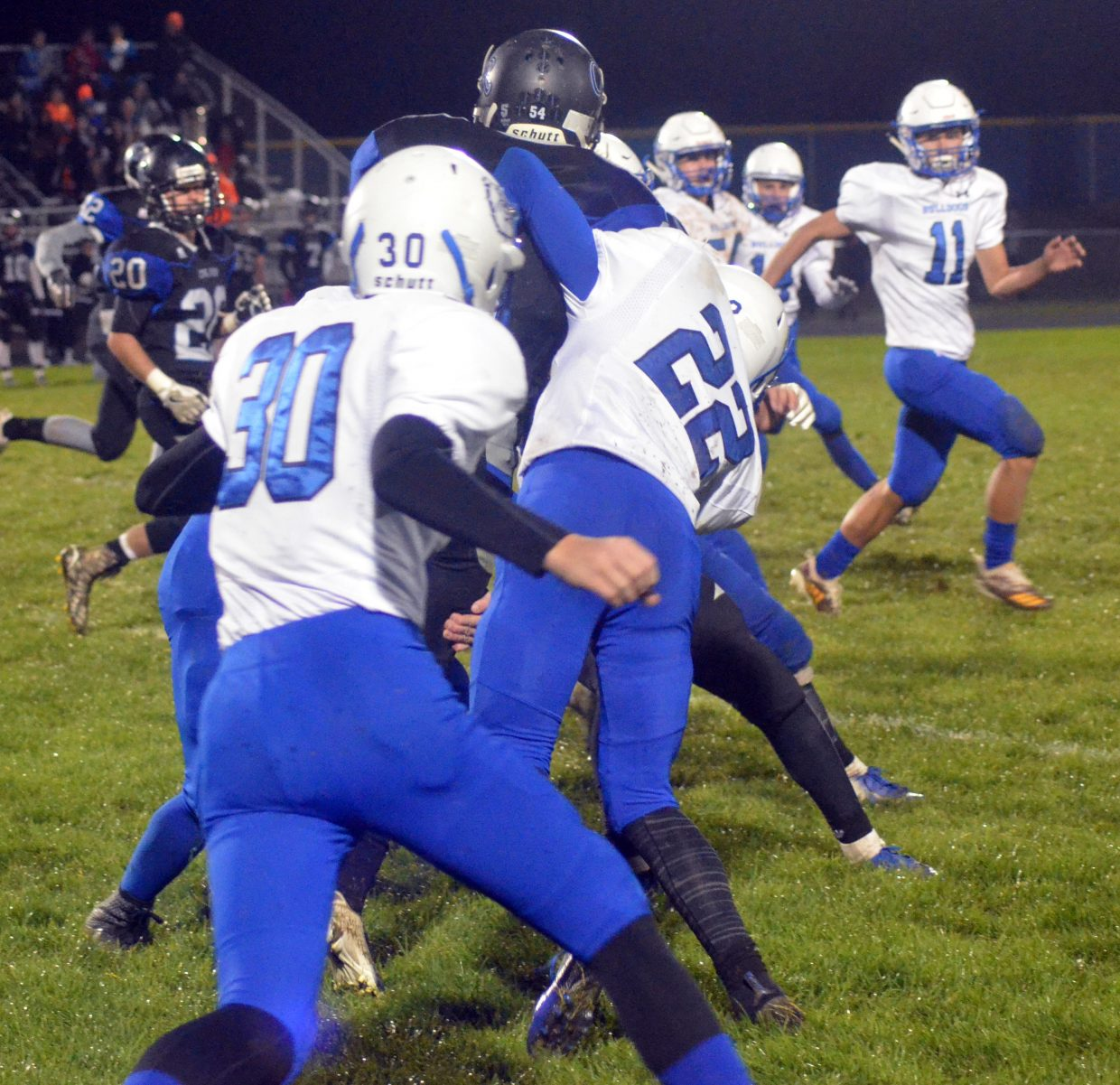 Moffat County High School special teams keep Coal Ridge from making progress on the kick return.