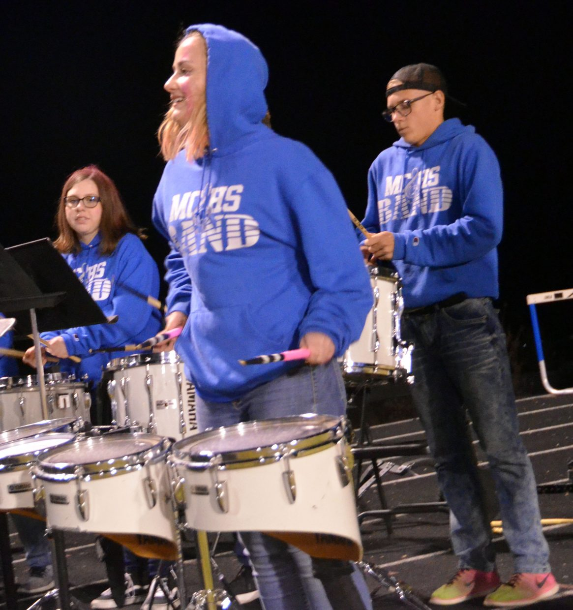 The Moffat County High School band's percussion section stays lively during a timeout.